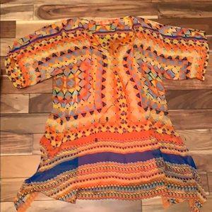 Hale Bob Cabana Orange Silk Dress